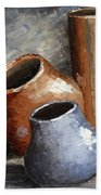 Blue And Brown Pots Bath Towel