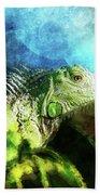 Blue And Green Iguana Profile Bath Towel