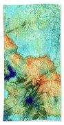 Blue And Orange Abstract - Time Dance - Sharon Cummings Bath Towel