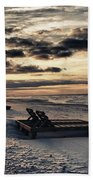 Blue And Orange Sunrise On The Beach Hand Towel