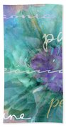 Blue And Purple Peony Bath Towel
