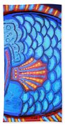 Blue And Red Fish Bath Towel