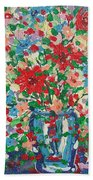 Blue And Red Flowers. Bath Towel