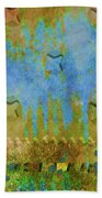 Blue And Yellow Abstract Bath Towel