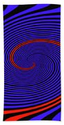 Blue Black And Red Twirl Abstract Bath Towel