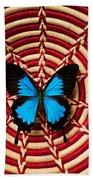 Blue Black Butterfly In Basket Bath Towel