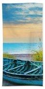 Blue Boat At Dawn Watercolors Painting Bath Towel