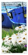 Blue Boat With Daisies Bath Towel