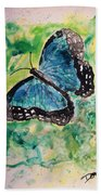 Blue Butterfly Bath Towel