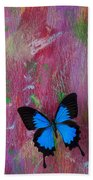 Blue Butterfly On Colorful Wooden Wall Bath Towel