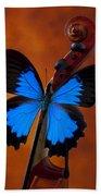 Blue Butterfly On Violin Bath Towel