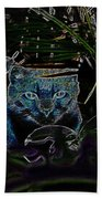 Blue Cat In The Garden Bath Towel