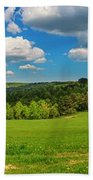 Blue Cloudy Sky Over Green Hills And Country Road Bath Towel