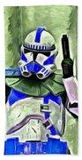 Blue Commander Stormtrooper At Work - Pa Bath Towel
