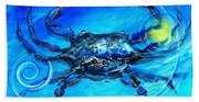 Blue Crab Abstract Bath Towel