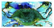 Blue Crab - Abstract Seafood Painting Bath Towel