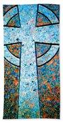 Blue Marbled Cross Bath Towel