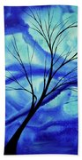 Blue Depth Abstract Original Acrylic Landscape Moon Painting By Megan Duncanson Bath Towel
