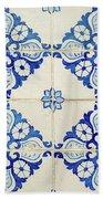 Blue Diamond Flower Tiles Bath Towel