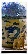 Blue Dragon And Hydrangeas Bath Towel