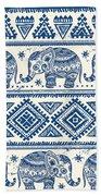 Blue Elephant With Ornaments Design Bath Towel