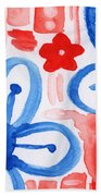 Blue Flowers- Floral Painting Hand Towel by Linda Woods