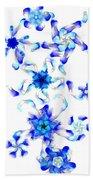 Blue Fractal Flowers Bath Towel