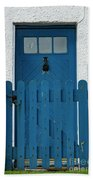 Blue Gate And Door On White House Bath Towel