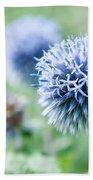 Blue Globe Thistle Flower Bath Towel