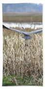 Blue Heron Flight Bath Towel