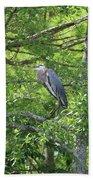 Blue Heron In Green Tree Bath Towel