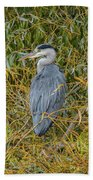 Blue Heron In The Autumn Colours Bath Towel