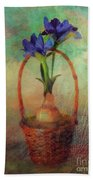 Blue Iris In A Basket Bath Towel