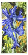 Blue Iris Painting Bath Towel