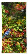 Blue Jay And Berries Bath Towel