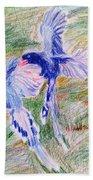 Blue Magpies Bath Towel
