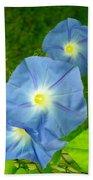 Blue Morning Glories Bath Towel