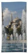 Blue Mosque Through The Fountain Bath Towel
