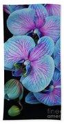 Blue Orchid On Black Bath Towel