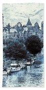 Blue Ottawa Skyline - Water Color Bath Towel