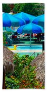 Blue Pool Umbrellas Bath Towel