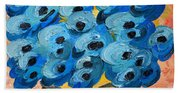 Blue Poppies In Square Vase  Bath Towel
