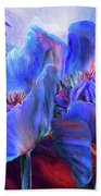 Blue Poppies On Red Bath Towel