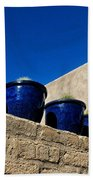 Blue Pottery On Wall Hand Towel