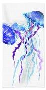 Blue Purple Jellyfish Artwork Design Bath Towel