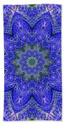 Blue Purple Lavender Floral Kaleidoscope Wall Art Print Bath Towel