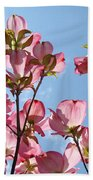 Blue Sky Landscape White Clouds Art Prints Pink Dogwood Flowers Baslee Troutman Bath Towel