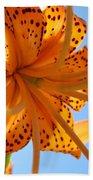 Blue Sky Sunshine Tiger Lily Flowers Giclee Prints Baslee Troutman Bath Towel