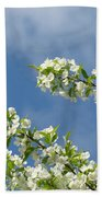 Blue Sky White Clouds Landscape Art White Tree Blossoms Spring Bath Towel