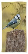 Blue Tit Bird II Bath Towel